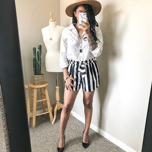 Shorts - Black + White Striped Shorts